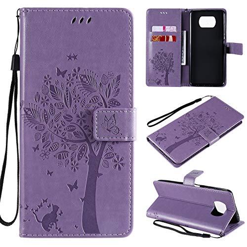 Zchen für Poco X3 NFC Hülle, Poco X3 Pro Hülle, Kunstleder Portemonnaie Handy-Schutzhülle Book Flip Design Klapphülle Etui Tasche für Xiaomi Poco X3 NFC/X3 Pro (Katze-Lila)