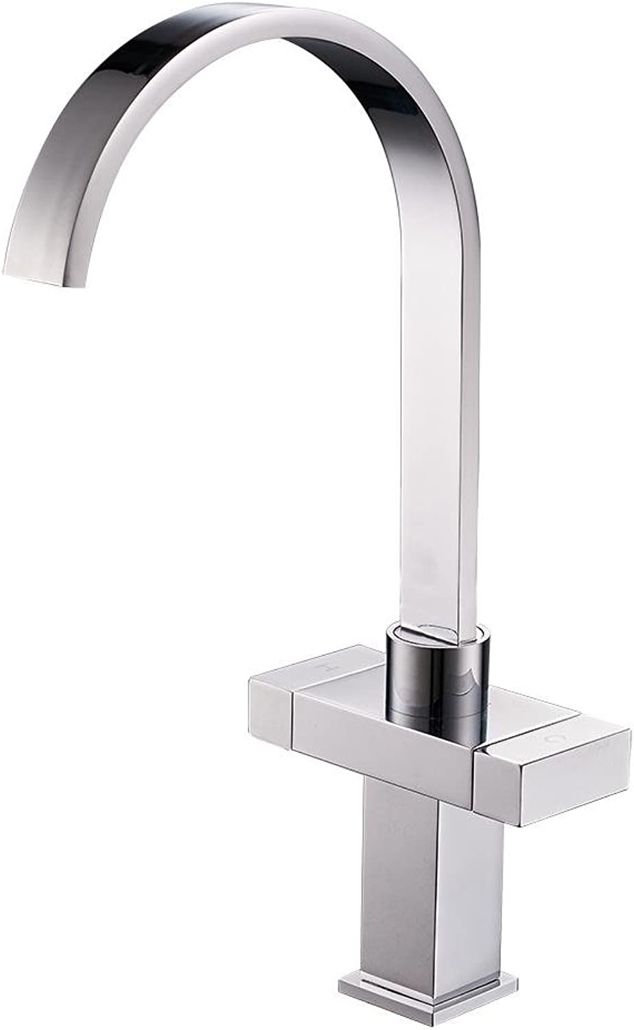 FCSHLT Double Handle Sink Mixer Tap in Front of Inward Opening Bathroom Faucet Swivel Spout Stainless Steel Polished Chrome