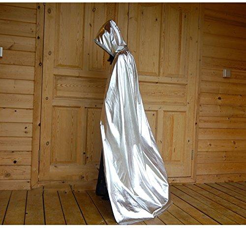Halloween Vampire Golden Cloak Costume de Cape Adult Child Magic Cloak Witch Shine Death (Couleur : Silver, Taille : S)