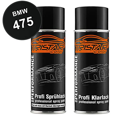 TRISTARcolor Autolack Spraydosen Set für BMW 475 Blacksaphire Metallic Basislack Klarlack Sprühdose 400ml