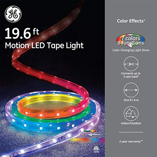 GE - 'Color Effects 19 ft LED Color Changing/Motion Tape Rope Lights