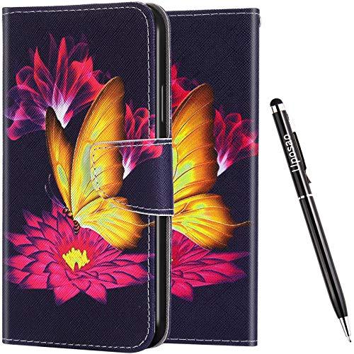 Uposao Kompatibel mit iPhone 7 Plus/iPhone 8 Plus Hülle Leder Vinatge Bunt Muster Brieftasche Handyhülle Schutzhülle Flip Wallet Case Leder Tasche Hülle Klapphülle Magnet,Rot Blumen