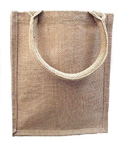 Jute Burlap Tote Bags Reusable Totes for Books, Gifts Full Gusset (Natural, 6)