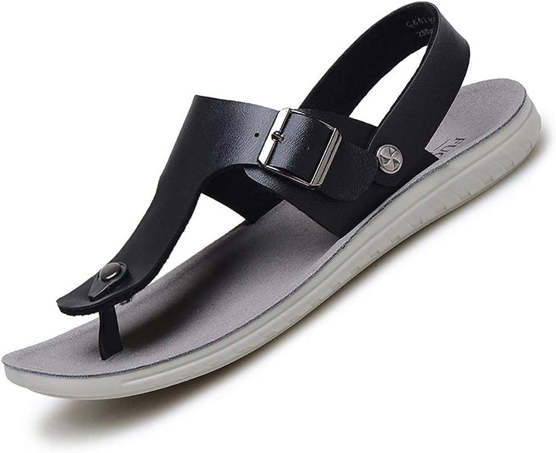 LQ Men's sandals flip flops Men's summer toe flat with outdoor shoes, leather breathable open toe sandals, rubber increased wear-resistant trend sandals (color   Black)