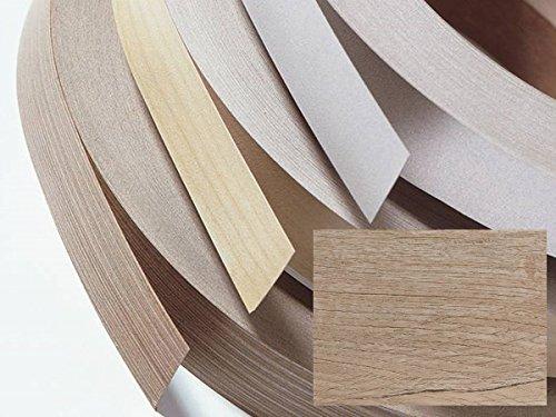 Kantenumleimer, Bügelkante, Melaminkante mit Schmelzkleber für Möbelbauplatten und Regalbretter - 5 Meter - Eiche natur Höhe 22 mm