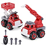 iPlay, iLearn Take Apart Fire Trucks, Assembly Toys Play Set, Water Tower & Fire Lift Truck, STEM Learning Building Vehicles W/ Screwdriver, Ideal DIY Gift for Aged 3 4 5 6 Boy Girl Toddler Kid