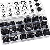 Aussel 18 misure 125 pezzi Gomma in gomma nera Kit guarnizione conduttore elettrico kit di assortimento per proteggere fili, spine e cavi (125PCS)