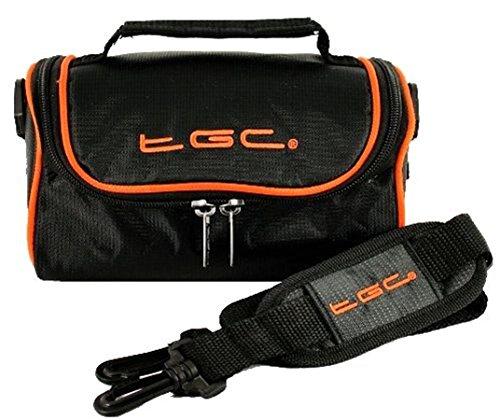 TGC - Bolsa de Hombro Compatible con cámara Digital FujiFilm XF10 Black with Hot Orange Trims Medium