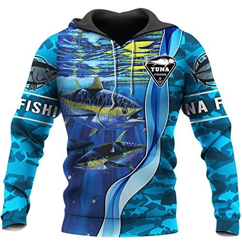 JSR-Hoodie Sudadera con Capucha y Cremallera con Estampado 3D de Arte de Pesca de atn Blue 3XL