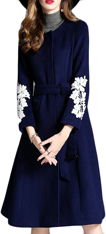 Esast Womens Elegant Print Sleeve Round Neck SingleBreasted Pocket ALine Pea Coat Overcoat