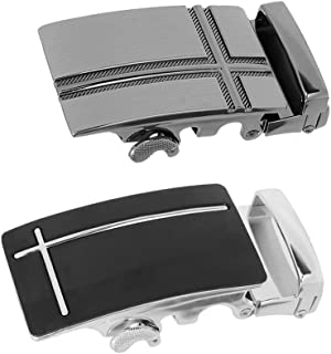 D DOLITY 2x Mens Belt Buckle Automatic Slide Click Buckle Ratchet Belt Buckle, for Black Leather Belt, Fashion and Durable