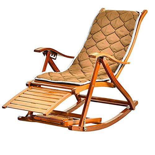 KUYH Silla Mecedora de Madera, sillón, Silla de ratán de bambú, Silla de Siesta de Patio, Plegable, Ajustable en Cinco Niveles, Adecuado para Adultos y Ancianos