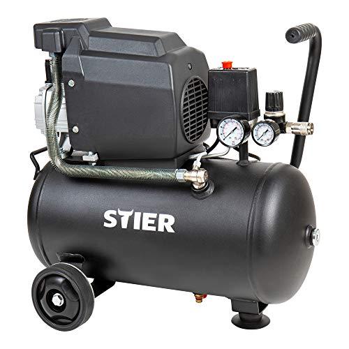 STIER Kompressor LKT 240-8-24, 1100 W, max Druck 8 bar, Gummiräder, Druckluftkompressor, Werkstattkompressor, Luftdruckkompressor