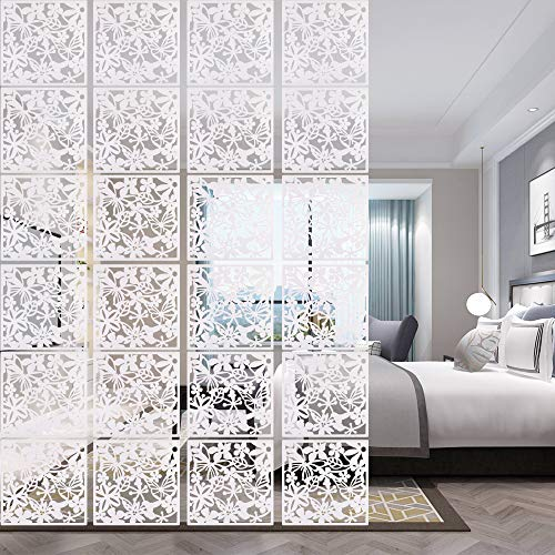 ANMINY 24 PCS Hanging Room Divider Flower Carving Pattern Panels Decorative Wall Screen Panel Hollow...