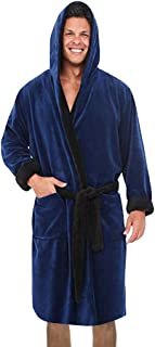 iTLOTL Men's Winter Lengthened Plush Shawl Bathrobe Home Clothes Long Sleeved Robe Coat