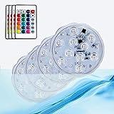 HL Luces LED RGB sumergibles con mando a distancia IP68 resistentes al agua luces LED decorativas para acuarios, estanques, piscinas, bases, jarrones, jardines, bodas, etc. (4 unidades)