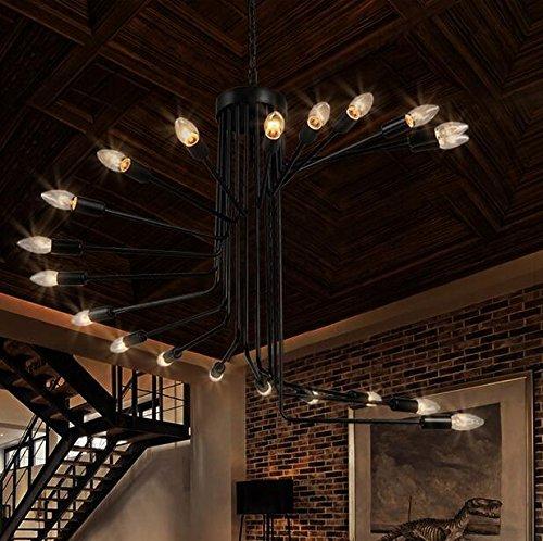 BBSLT Scala a chiocciola retrò in ferro battuto lampadari lampadario loft negozio di abbigliamento semplice e creativa soggiorno cafe bar ciondolo 800 * 660mm