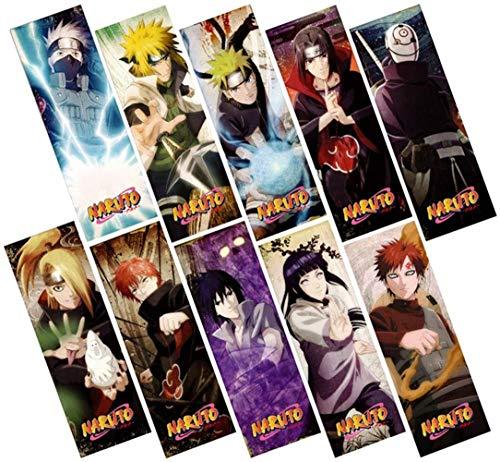Segnalibri anime, regalo anime, 10 pezzi simpatici anime segnalibri GHRTH-4564 impermeabile trasparente PVC plastica segnalibro bellissimo libro segnalibro regalo | set di segnalibri (Naruto set)
