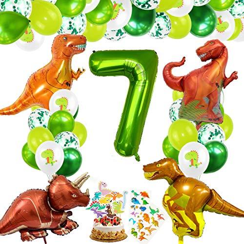 Decoracion Cumpleaños Dinosaurios, Globos de Cumpleaños Dinosaurios, Globo Numero 7 Verde, Globos Dinosaurios, Globos de Cumpleaños 7 Años, Globos Grandes Gigantes Helio