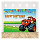 Cartoon Monster Truck Photo Background Blaze Party Banner Monster Machines Themed Boys Happy Birthday Photography Backdrop Decorations Vinyl 5x3ft