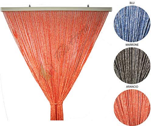 Tata Home Tenda Antimosche per Porta Finestra Moschiera a Pannello Modello Gabry in Corda di Poliestere Resistente Misura 120 x 220 cm Colore Arancio