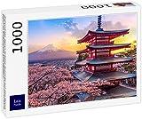 Lais Puzzle Fujiyoshida, Japón Hermosa Vista del Monte Fuji y la Pagoda Chureito al Atardecer, Japón en Primavera con los cerezos en Flor 1000 Piezas