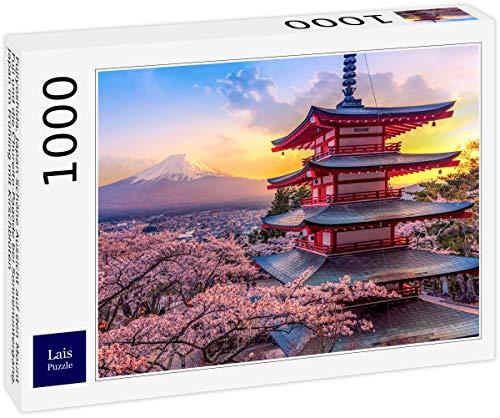 Lais Puzzle Fujiyoshida, Giappone Bella Vista del Monte Fuji e della Pagoda Chureito al Tramonto, Giappone in Primavera con i Fiori di ciliegio 1000 Pezzi