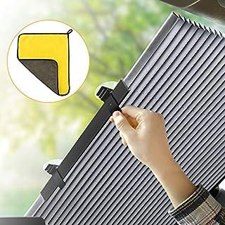 Lealife 車用サンシェード サンシェード 車 フロントグラス 日よけ 遮光遮熱 防紫外線 暑さ対策 自動伸縮 自動折畳 プライバシーを保護する 吸盤取付 70cm
