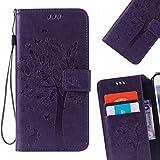 LEMORRY Hülle für Huawei Ascend Mate7 Hülle Tasche Geprägter Ledertasche Beutel Schutz Magnetisch Schließung SchutzHülle Weich Silikon Cover Schale für Huawei Ascend Mate7, Glücklicher Baum Violett