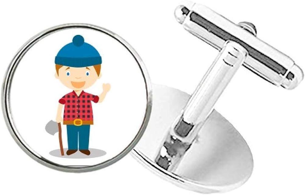 DIYthinker Blue Hat Shirt Canada Cartoon Round Button Cuff Clip Stud Cufflinks