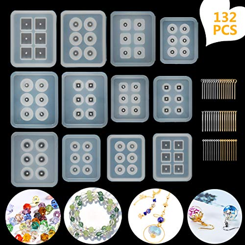Suhome Resin Molds for Jewelry 12 PCS Beads Silicone Resin Molds with Hole Cabochon Gem Jewelry Making Epoxy Resin Molds for Earrings, Pendants,Bracelets and Necklaces