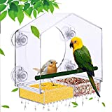 Window Bird Feeder - Extra Strong Suction Sups and Removable Seed Tray with Drainage Holes. windowsill Birdfeeders for Wild <span class='highlight'><span class='highlight'>Birds</span></span>, Finch, and Cardinal. LIANGPIN Transparent Birdhouse Shape Design