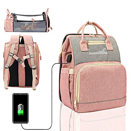 3 in 1 Travel Foldable Portable Baby Bed Waterproof Diaper Bag Mommy Backpack Changing Station with Sunshade, USB Charging Port (Pink-Gray)