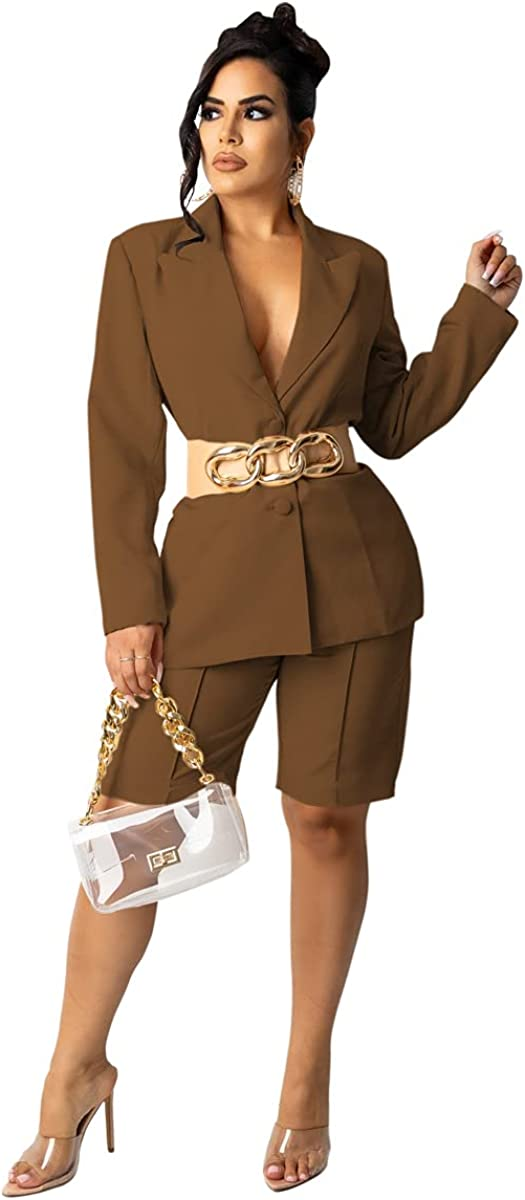 Pulkritu Women Knee-Length Pants Suit - Office Lady Blazer Tops and Pants Matching Two 2 Piece Set Outfits (XL,Brown)