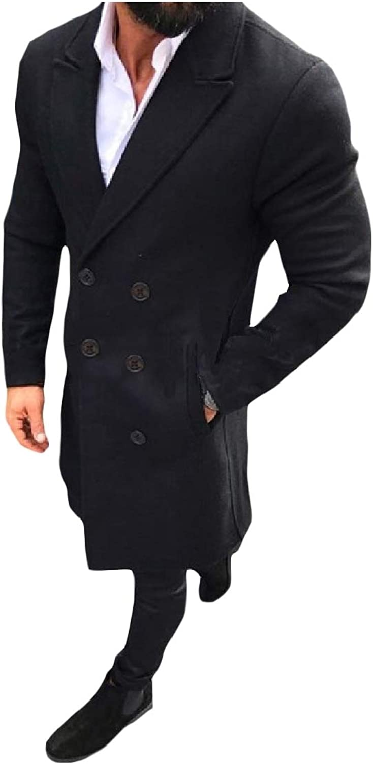 ed9d65fe8cb264 TaoNice Mens Wool-Blend Lapel Simple Simple Simple Double-Breasted Trench  Coat Outwear 58aeda