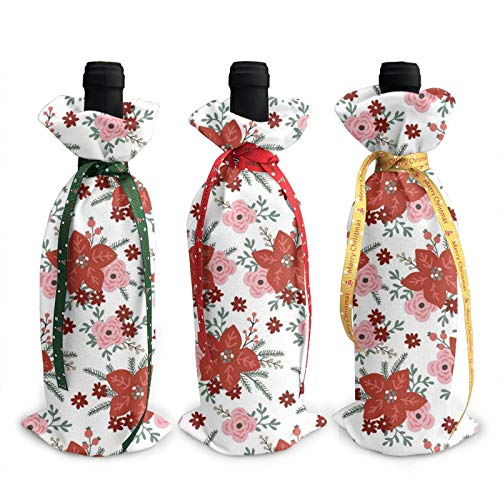 3pcs Christmas Wine Bottle Cover 3d Beautiful Red Bouquet Wines Bottles Decoration Bags For Xmas New Year Party Birthday Dinner