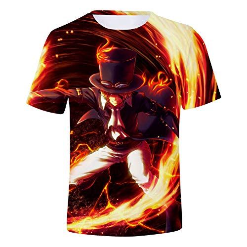 ZWJX Monkey D Luffy One Piece 3D Print Kids T-Shirt Short Sleeve Adults Unisex Breathable Quick Dry Polyester Tee Tops Cosplay Costume,Streetwear,4XL