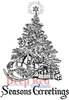 "Deep Red Cling Stamp 2""X3""-Season's Greetings Tree (並行輸入品)"
