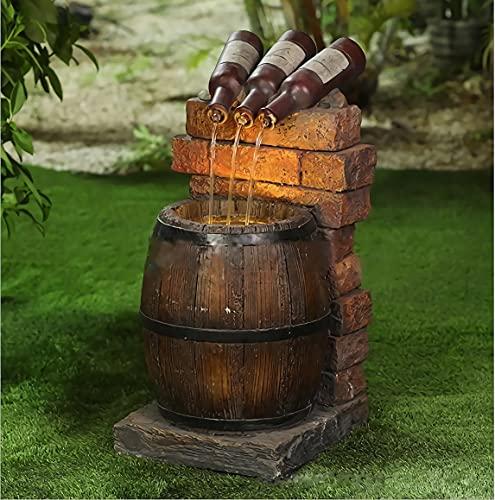 Fuente de cerveza para decoración de jardín al aire libre, con bomba de agua, sistema de agua autocirculante, fuentes al aire libre, decoraciones de patio, estatuas al aire libre, decoración de porche
