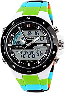 Songlin@yuan 1016 Multifunctional Men Outdoor Sports Creative Camouflage Noctilucent Waterproof Double Digital Watch Fashion (Color : Green)