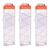 OIMIO 18-Darts Magazines Clips, 3 Pack 18 Darts Quick Reload Bullet Clips Magazine Clips for Nerf n-Strike Elite Blaster Transparent (White)…