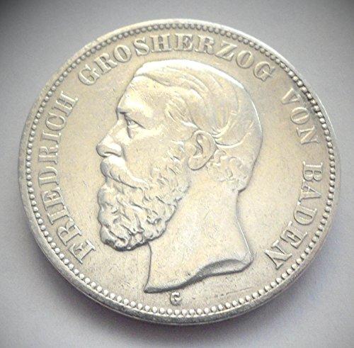 orig. Silbermünze 5 Mark 1876 G Friedrich I. Baden - RARITÄT vz/st - Münze - Jäger Nr.27