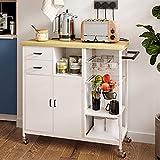Yuleestyle Lagerung Kücheninsel Wagen, Home Bar Servierwagen, Küche Dienstprogramm Wagen mit Schubladen, Handtuchhalter (natürliche)