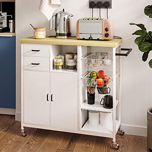 Yuleestyle Carrito de almacenamiento de la isla de cocina, carro de servicio para el hogar, carro de cocina, carro con cajones, toallero (natural)