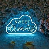 Divatla Unique Sweet Dream Neon Sign with 3D Art,Powed by USB Neon Sign. Neon Light Sign with Dimmable Switch. (Blue)