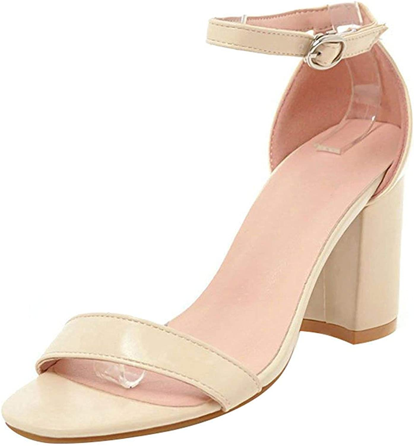 Ghssheh Women's Classic Ankle Strap Work shoes - Open Toe Solid color - Buckle Block High Heels Sandals Beige 4 M US
