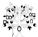P121202-6 niños árbol genealógico en blanco y negro papel pintado no tejido