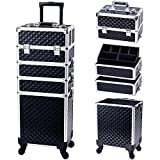 Stagiant Rolling Makeup Train Case Large Storage Cosmetic Trolley 4 in 1 Large Capacity Trolley Makeup Travel Case with Key Swivel Wheels Salon Barber Case Traveling Cart Trunk - Black