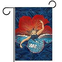 ガーデンヤードフラッグ両面 /28x40in/ ポリエステルウェルカムハウス旗バナー,ハワイフラワー