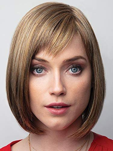 Portia Petite Cap Wig Color Cinnamon Swirl - Noriko Wigs 11' Short Sexy Bob Monofilament Left-Side Part Synthetic Hair Avg Cap Orchid Collection Face Framing Bundle Comb, MaxWigs Hairloss Booklet